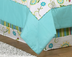 Layla Modern Flower Turquoise and Lime Queen Bed Skirt