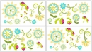 Layla Modern Flower Turquoise and Lime Wall Decals - Set of 4 Sheets