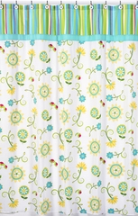 Layla Modern Flower Turquoise & Lime Shower Curtain Sweet Jojo Designs