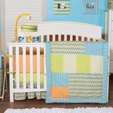 Levi Boys Chevron and Stripes Baby Bedding - 3Pc Crib Bedding Set