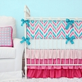Lila Girls Chevron Crib Bedding in Pink & Turquoise 2 Pc Set Caden Lane
