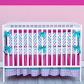 Lila Girls Chevron Crib Bedding in Pink and Turquoise - Caden Lane
