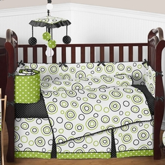 Lime Green and Black Spirodot Baby Bedding -9 Pc Crib Set