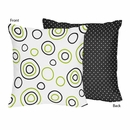 Lime Green and Black Spirodot Decorative Accent Throw Pillow
