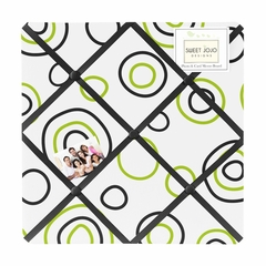 Lime Green and Black Spirodot Fabric Memo Board by Sweet Jojo Designs