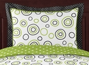 Lime Green and Black Spirodot Pillow Sham by Sweet Jojo Designs