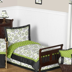 Lime Green and Black Spirodot Toddler Bedding Set