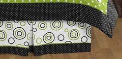 Lime Green & Black Spirodot Queen Bed Skirt by Sweet Jojo Designs