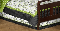 Lime Green & Black Spirodot Toddler Bed Skirt by Sweet Jojo Designs