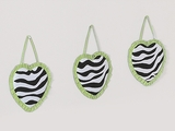Lime Green Zebra 3 Piece Wall Hangings By Sweet Jojo Designs