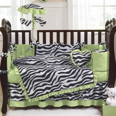Lime Green Zebra Baby Bedding - 9 Piece Crib Set