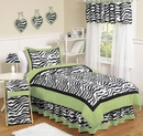 Lime Green Zebra Kids Bedding - 4 Piece Twin Set