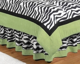 Lime Green Zebra Kids Bedding Queen Bed Skirt by Sweet Jojo Designs
