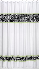 Lime Green Zebra Print Shower Curtain by Sweet Jojo Designs
