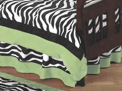 Lime Green Zebra Toddler Bed Skirt by Sweet Jojo Designs
