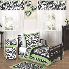 Lime Green Zebra Toddler Bedding Set