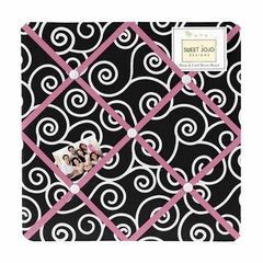 Madison Black and White Scroll Print Fabric Memo Board