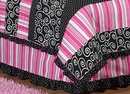 Madison Collection Pink, Black & White Stripe Queen Bed Skirt