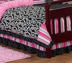 Madison Collection Pink, Black & White Stripe Toddler Bed Skirt