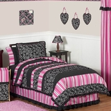Madison Girls Pink & Black Bedding 4 Pc Twin Bedding Set