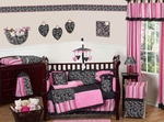 Madison Pink and Black Girls Baby Bedding - 9 Pc Crib Set