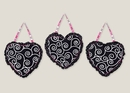 Madison Scroll Print & Polka 3 Piece Wall Hangings