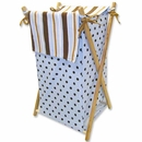 Max Blue and Brown Polka Dot and Stripe Hamper Set by Trend Lab