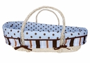 Max Blue and Brown Polka Dot and Stripe Moses Basket Set by Trend Lab