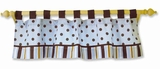 Max Blue and Brown Polka Dots and Stripe Window Valance by Trend Lab