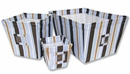 Max Blue and Brown Stripe 3 Piece Fabric Storage Bins by Trend Lab