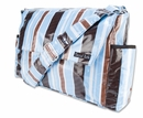 Max Blue and Brown Stripe Messenger Diaper Bag by Trend Lab