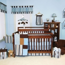 Max Polka Dot Blue and Brown Baby Bedding - 3 Pc Crib Set Trend Lab