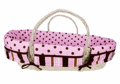 Maya Pink and Brown Polka Dot Moses Basket Set