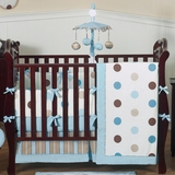 Mod Dots Blue Polka Dot Baby Bedding - 9 Piece Crib Set