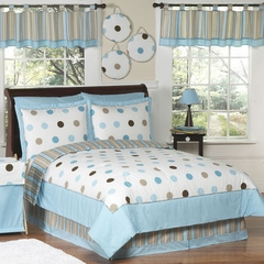 Mod Dots Blue Polka Dot - Kids Bedding 4 Piece Twin Set