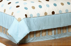 Mod Dots Blue Polka Dot Queen Bed Skirt by Sweet Jojo Designs