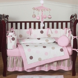 Mod Dots Pink and Brown Polka Dot Baby Bedding - 9 Piece Crib Set