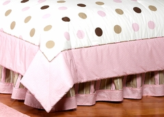 Mod Dots Pink Polka Dot Queen Bed Skirt by Sweet Jojo Designs