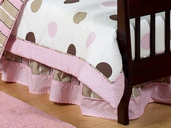 Mod Dots Pink Polka Dot Toddler Bed Skirt by Sweet Jojo Designs