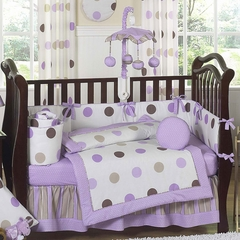 Mod Dots Purple Polka Dot Baby Bedding - 9 Piece Crib Set