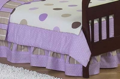 Mod Dots Purple Polka Dot Toddler Bed Skirt by Sweet Jojo Designs