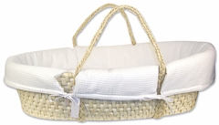 Natural Moses Basket with White Pique Bumper