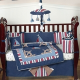 Nautical Nights Sailboat Baby Bedding - 9 Piece Crib Set