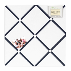 Navy and White Modern Hotel Fabric Memo Board by Sweet Jojo Designs