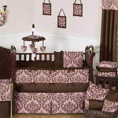 Nicole Pink and Brown Damask Baby Crib Bedding 9 Pc Set