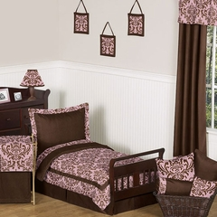 Nicole Pink and Brown Damask Toddler Bedding Set