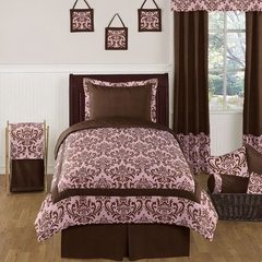 Nicole Pink and Brown Damask Twin Bedding 4 Pc Set
