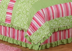 Olivia Collection Pink, Green & White Stripe Queen Bed Skirt