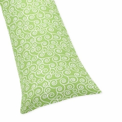 Olivia Green and White Scroll Print Body Pillow Cover