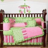 Olivia Pink and Green Girls Baby Bedding - 9 Piece Crib Set